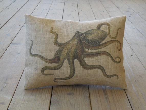 Ocean Animal Pillows : Octopus Burlap Pillow Ocean Nautical ocean animals INSERT