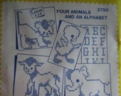 One Aunt Martha's Hot Iron Transfers  Four Animals and Alphabet