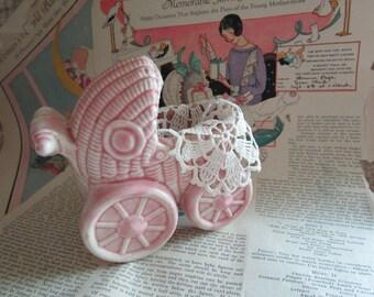 Pink Baby Planter   Ceramic Baby Buggy  Baby Pram    Vintage Planter
