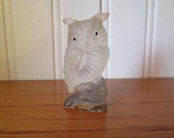 Vintage Rare Horned Owl Figurine // Miniature // Solid Lucite // Halloween // Printers Tray
