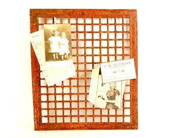 Vintage Cast Iron Heat Grate Floor or Wall Vent (c.1920s) - Collectible Architectural Salvage, Unique Memo Board or Rustic Photo Holder