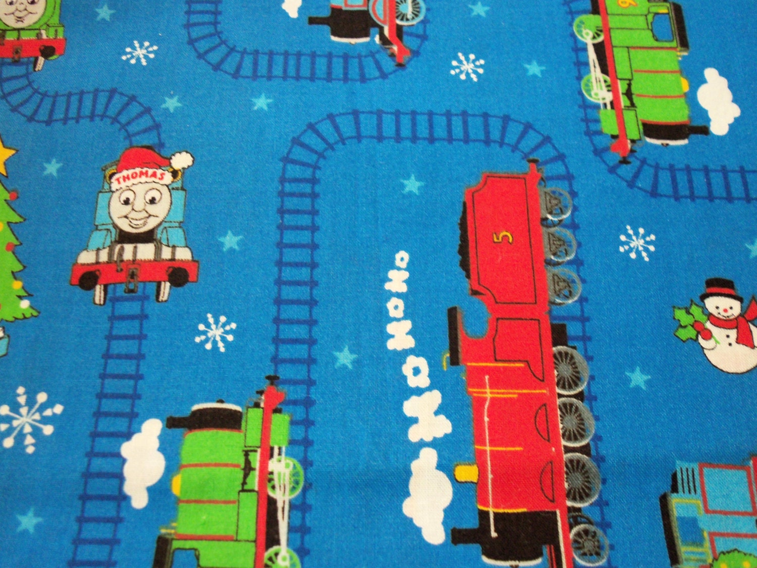 Thomas the train fabric christmas by the fat quarter by for Fabric with trains pattern