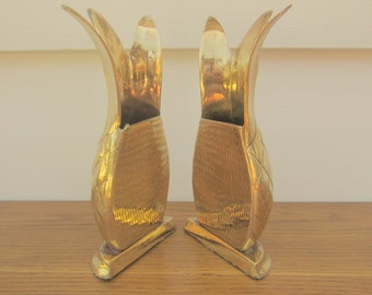 Pair of brass pineapple bookends.  Brass pair of pineapple vase bookends.