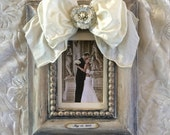 Wedding Photo Frame Bow Jewel Floral Diamond Bling Rustic Neutral Ivory Personalize Name Date