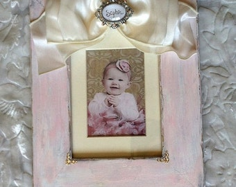 Shabby Pink Photo Frame with Bow Jewel Personalize Frame with Name Pastel Blue Pink Yellow Lavender Bling Baby Decor Child Room New Baby