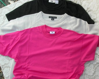 3 Vintage T-Shirts, short-sleeved, black, pale blue and hot pink, sz XL & L