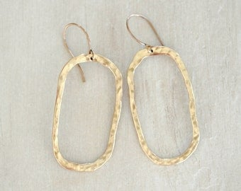 Gold Rectangle Hoops / Organically Shaped and Hammered Hoop / Bold Earrings / Everyday Wearable Jewelry
