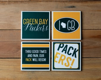 4 Green Bay Packers Coasters