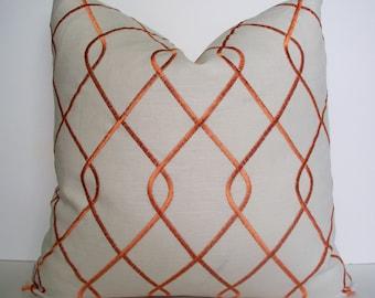 Orange Pillow Cover Orange Embroidered Pillow Cover Orange Geometric Pillow 16 18 20