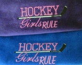 Girls Hockey towel / Hockey bag towel / Embroidered / Hockey / Hockey Stick /Hockey Team Gift