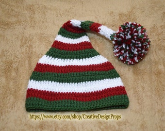 Green - white - red Christmas stocking Elf hat with big Pom Pom - Baby Photo prop or Christmas Gift