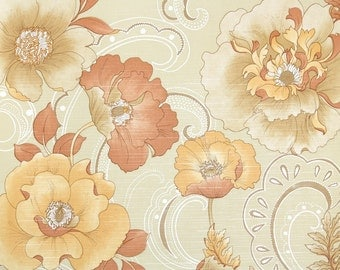Retro Wallpaper by the Yard 70s Vintage Wallpaper - 1970s Orange and Tan Poppy Blossoms Floral
