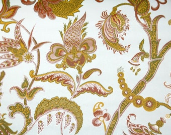 Retro Wallpaper by the Yard 70s Vintage Wallpaper- 1970s Burgundy Gold and Green Floral Paisley with Metallic Silver