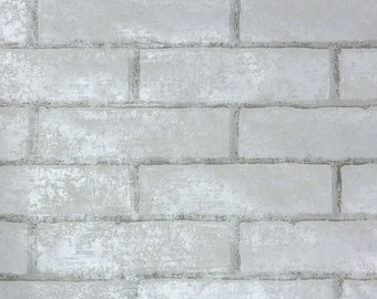 Retro Wallpaper by the Yard 70s Vintage Wallpaper - 1970s White and Gray Brick Wallpaper