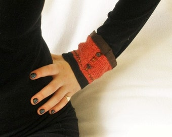 Sweater knit cuff bracelet coral chocolate brown embellished upcycled- free shipping US