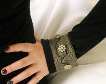 Fabric cuff bracelet menswear plaid