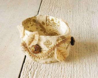 Cuff bracelet fabric upcycled ivory gold embellished