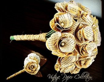 Book Page Bouquet - Book Page Boutonniere -Book Bouquet -Book Flowers -Paper Roses -18 Paper Roses -Storybook Wedding (Item: TPG72)