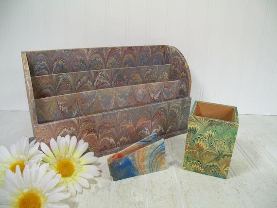 Bohemian Wallpaper Desk Collection of 3 Pieces Vintage