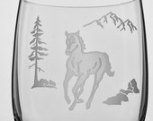 Horse Wine Glass, Etched (Sandblasted), Original Design