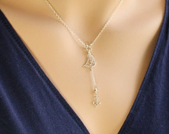Sterling Silver Sailboat and Anchor Y-Necklace