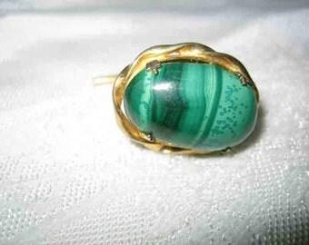 Vintage Malachite Tie Tack Lapel Pin