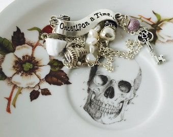Skull Cake Saucer Brown Flower White Gold Vintage Bone China Made in England Tea Party Wedding Ring Trinket Dish Anniversary Jewellery Gift