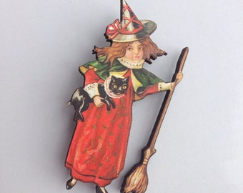 Child Dressed as Witch with Black Cat and Broomstick Wooden Brooch Pin Halloween Birthday Gift Christmas Stocking Filler Laser Cut