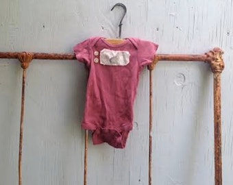 hand dyed rose prairie baby autumn onesie bunny vintage linen buttons rustic bodysuit shower gift