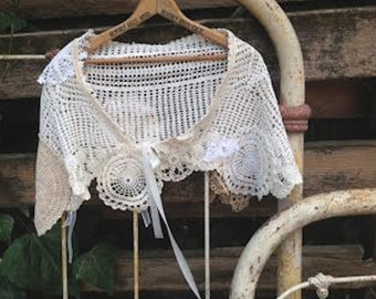 ivory bride bridal wedding ooak Vintage linens lace handmade rustic gypsy boho girl ecru bridesmaid crochet cape shawl shrug