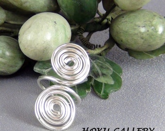 Wirewrapped, 14ga SS Round Wire, Adjustable Ring, fits finger size 5.5 - 7.5 - Hand Crafted Artisan Jewelry