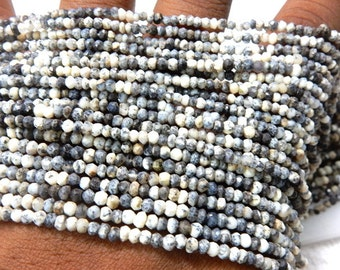 Dendrite Opal  Beads Dendrite Opal Gemstone Faceted Rondelle Beads AAA Quality 4MM Approx 14''   Wholesale Price