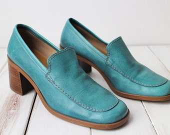 SIZE 7 1/2 M VIntage Enzo Angiolini Seafoam Green Genuine Leather Stacked Heels Loafers BEAUTIFUL