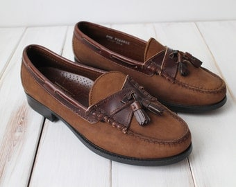 SIZE 8 1/2 W VIntage SEBAGO Two Tone Genuine Leather Made in USA Tassel Loafers Shoes