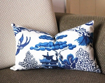 Designer cotton linen Pillow -Lee Jofa Willow Pattern Chinoiserie Pillow Cover, blue Pillow - Throw Pillow 323