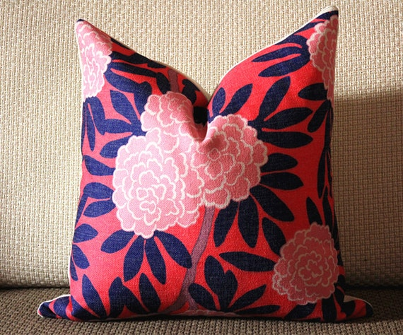 Navy And Pink Decorative Pillows: 4 Colors Designer Pillow Aqua And Navy Pillow Cover Floral