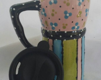 Ceramic Travel Mug w/lid - Pink, green, bright blue with  flowers, dots