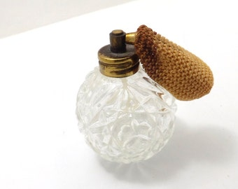 Antique cut glass perfume bottle with atomizer, room decor