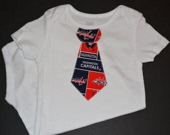 Washington Capitals Hockey Baby Boy Shirt - Washington Capitals Baby Clothes - Washington Capitols Tie - Baby Boy Gift - Capitals Baby - Tie