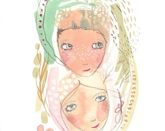 Friends original painting, affordable wall art, cute girls illustration
