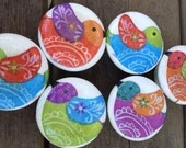 knobs Set of 6 hand decorated wooden drawer knobs;  1 3/4 inch in diameter