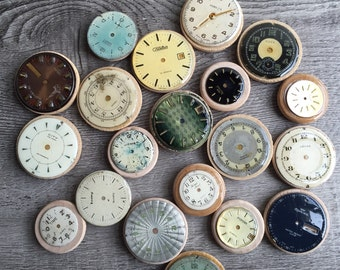 Fridge magnets made of repurposed watch parts (set of 6)