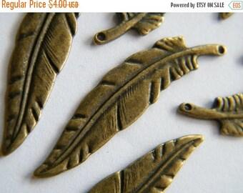 ON SALE 10 x Antique Bronze Brass Filigree Feather Pendant Charm Tibetan Feathers