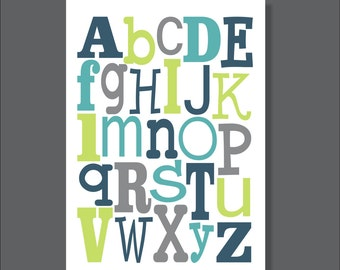 Alphabet Printable Art, ABCs, Nursery Wall decor, Blue and Gray- File Download