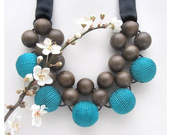 Natural Wood Necklace / Wooden Necklace / Graywood Turquiose Beads with RibbonTies / Bib Necklace / Statement Necklace / Wood Bead Necklace