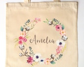 Rustic Cotton Pod and Florals Wedding Custom Printed Watercolor Wreath Wedding Bridesmaid Flower Girl Maid of Honor Tote Bag for Weddings