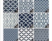 Custom Made Faux Roman Shade Mock Valance You Choose the Size and Pattern Navy Blue White Fabric