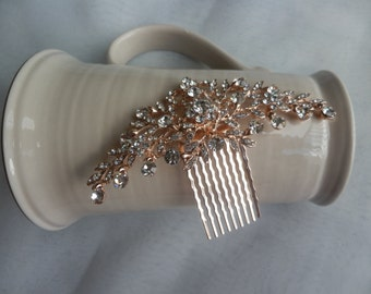 Rose Gold Bridal Hair Comb, Wedding, Accessories, Crystal Hair Comb, Crystal Headpiece