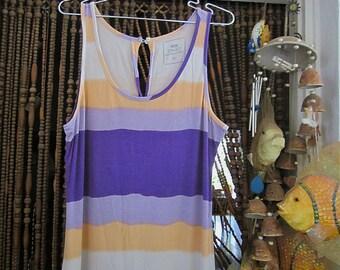Ankle-Length Striped Summer Cotton Dress in Purple, Violet, Light Orange and Ivory, Vintage - Large to XLarge