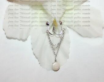 Clit Clip , Non piercing labia clip, Non Piercing Clitoris Labia Intimate Jewelry, Dangle Sexy Wife, Chain and freshwater pearl coin  (m2)